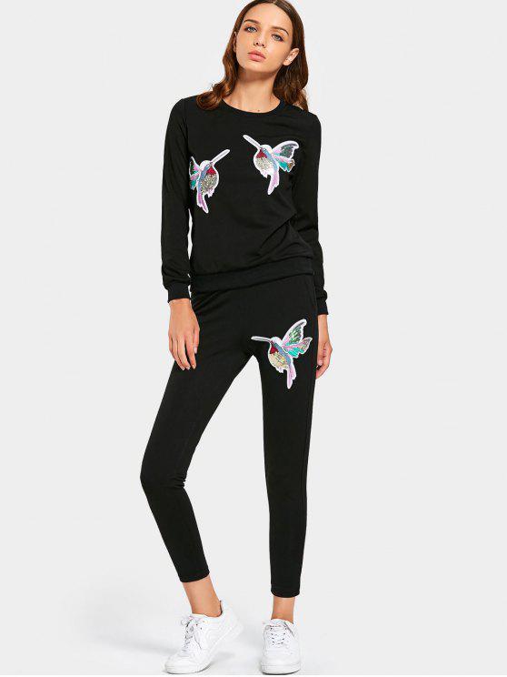 Sequined Bird Sudadera y conjunto de pantalones - Negro M