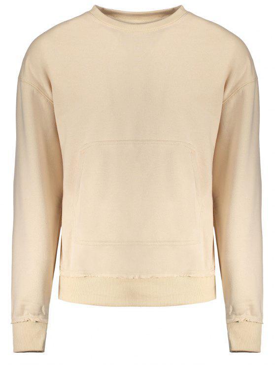 Sweat-shirt Ras du Cou avec Poche Kangourou - Abricot XL