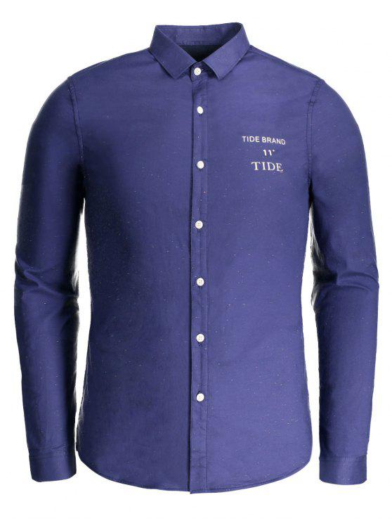 trendy Tide Graphic Flocking Shirt - BLUE 3XL