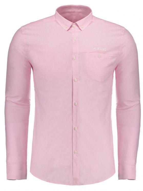 Flirting gráfico botón abajo de la camisa - Papaya XL