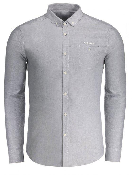 Flirting gráfico botón abajo de la camisa - Gris 2XL