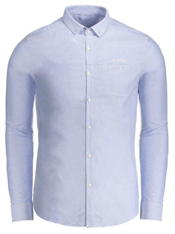Flirtender Grafikknopf unten Hemd - Blau 3XL