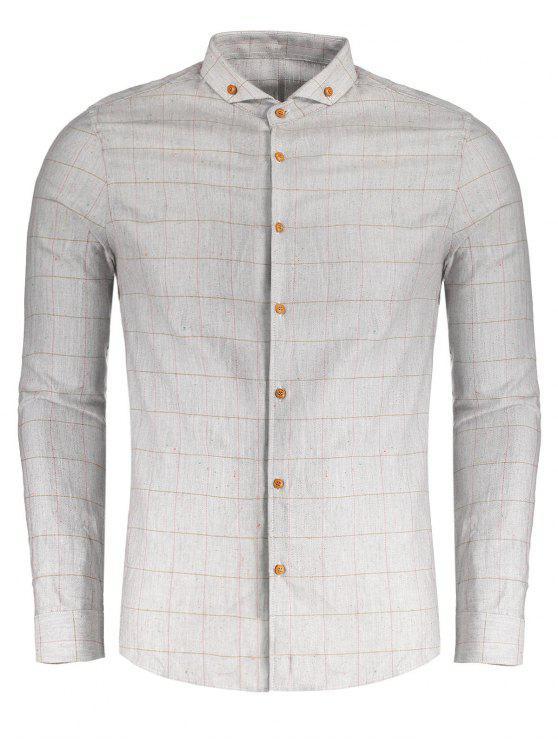 منقوشة زر أسفل قميص - رمادي XL