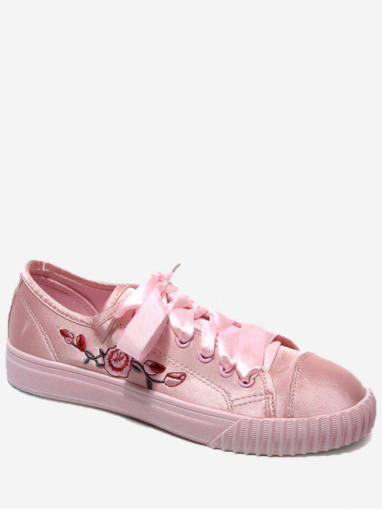 fancy Embroidery Ribbon Floral Skate Shoes - PAPAYA 38