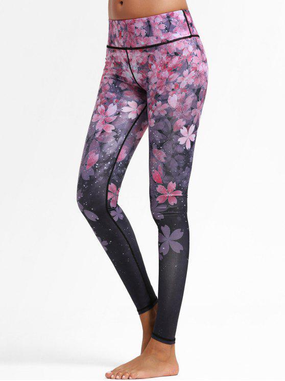 lady Floral Ombre Sports Leggings - FLORAL M