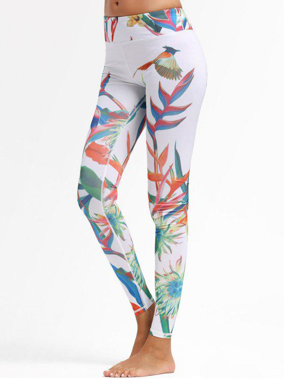 hot Plant Print Sports Leggings - WHITE M