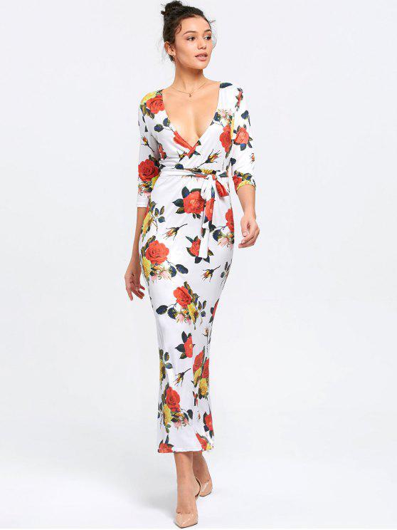 Vestido de sirena floral de corte bajo - Blanco 2XL