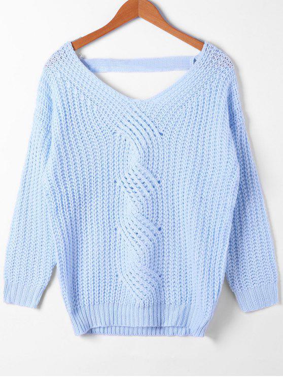 Camisola de malha de cabo cortada - Azul-celeste M