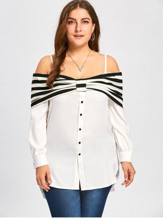 Blusa De Golfinho Foldover Plus Size - Quase Branco 2XL
