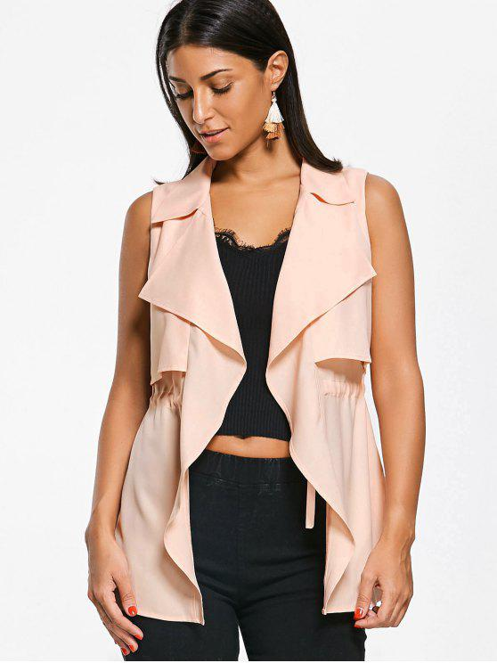 shop Notched Collar Drawstring Waistcoat - LIGHT APRICOT PINK M
