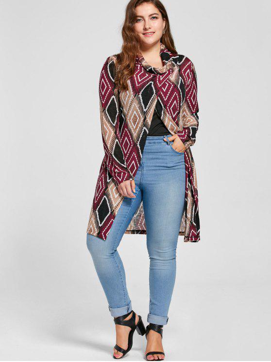 chic Plus Size Geometric Cowl Neck Knit Top - COLORMIX 2XL