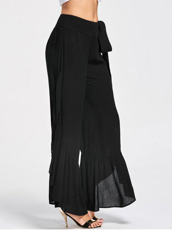 Tie Side Ruffle Slit Palazzo Pantalones - Negro 2XL