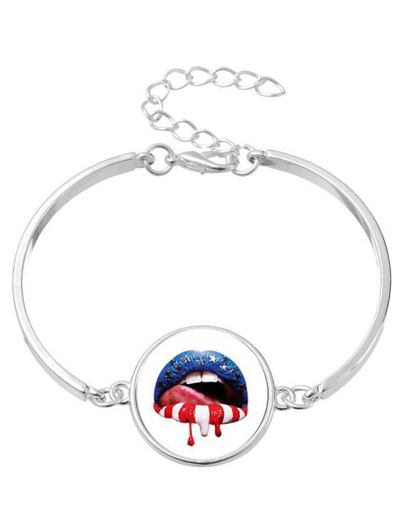 Halloween Star Blood Lips Bangle Bracelet - Prata