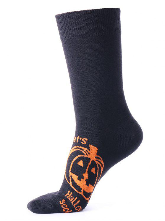 ladies Tube Socks with Halloween Pumpkin Pattern - BLACK