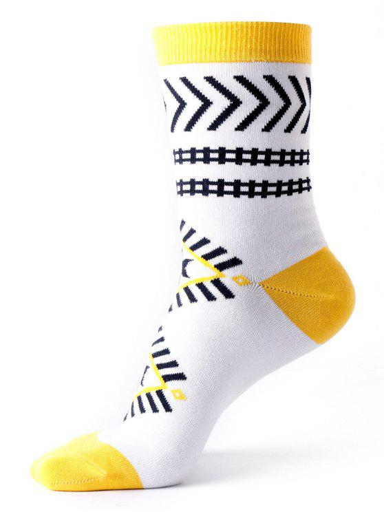 lady Ankle Socks with Halloween Geometric Pattern - WHITE