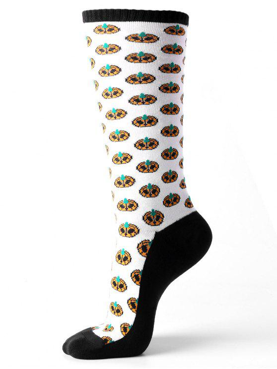 best Tube Socks with Halloween Small Pumpkins Pattern - WHITE