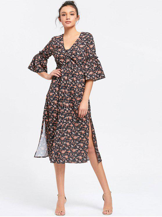 lady Button Up Slit Floral Midi Dress - FLORAL S