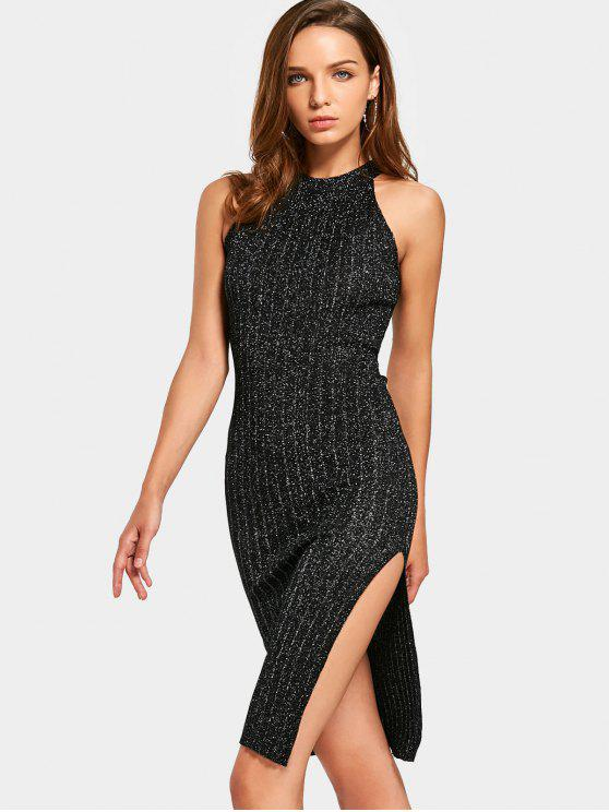 shops Sleeveless Sequined Side Slit Fitted Dress - BLACK ONE SIZE