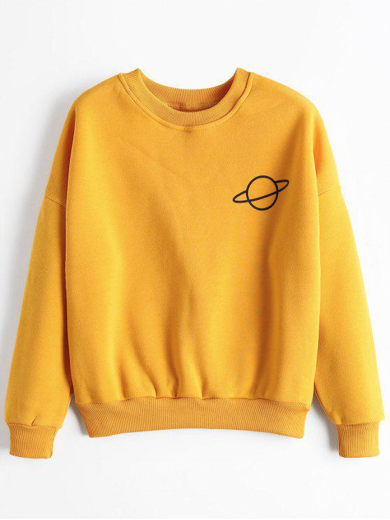 Planet Drop Schulter Sweatshirt - Ingwer-Gelb Eine Größe