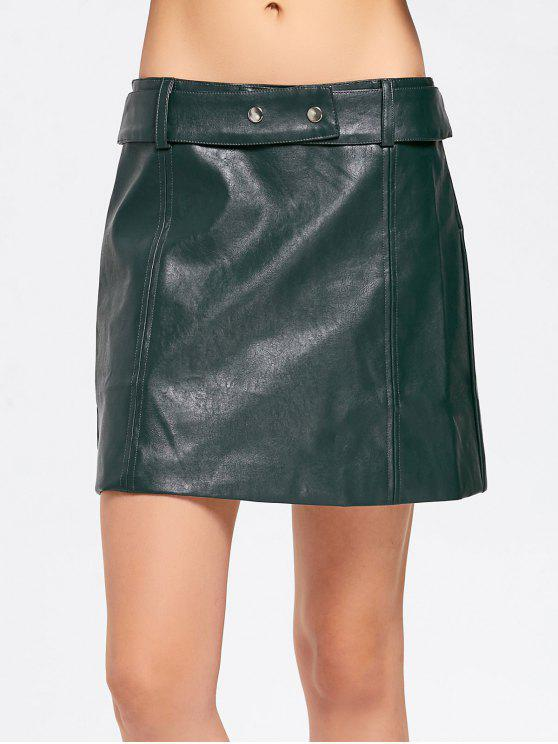 latest Belted Faux Leather A Line Mini Skirt - BLACKISH GREEN S