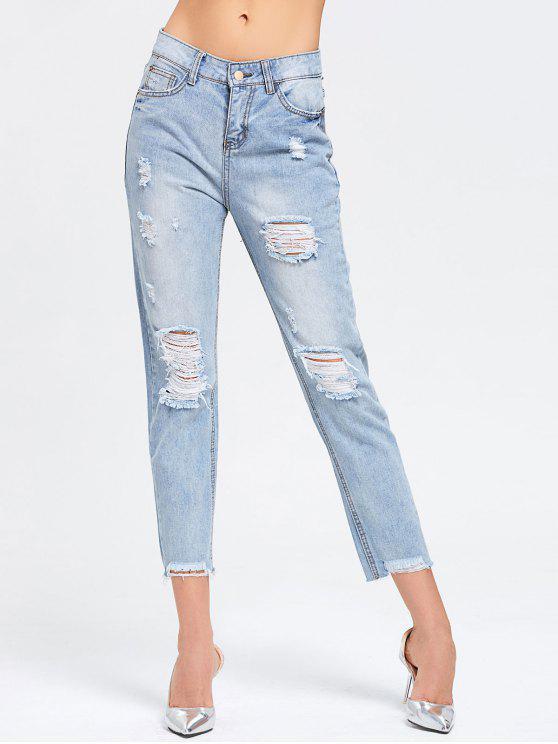 fashion Ninth Destroyed Frayed Pencil Jeans - DENIM BLUE S