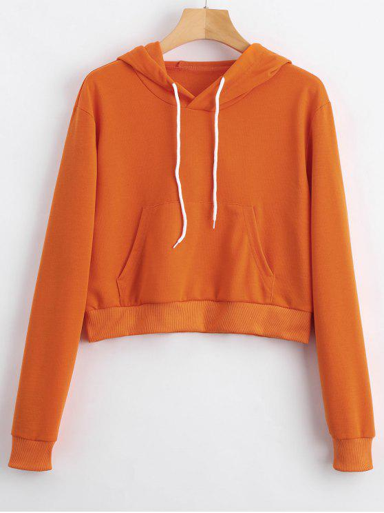fancy Front Pocket Crop Hoodie - ORANGE S