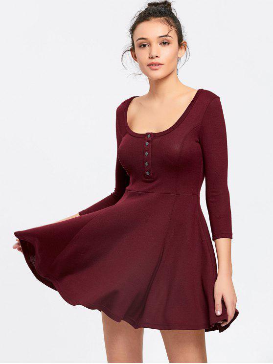 فستان مصغر بنصف الزر محبوك بخط A - نبيذ أحمر M