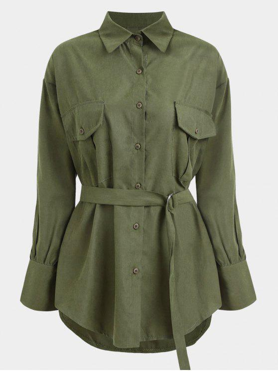 online Belted Longline Shirt - ARMY GREEN ONE SIZE