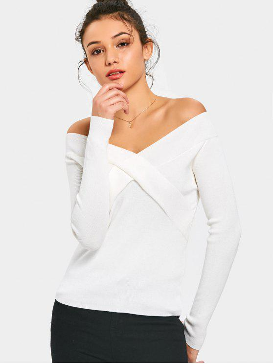 shop Off The Shoulder Knitted Plain Top - WHITE ONE SIZE