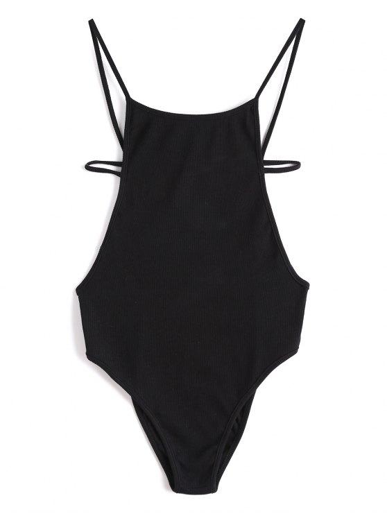 trendy Criss Cross Backless Knitted Bodysuit - BLACK M