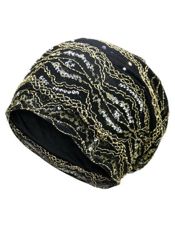 outfit Striped Sequin Embellished Beanie Hat - GOLDEN