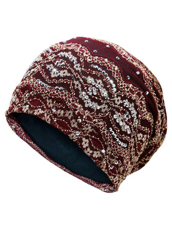 outfits Striped Sequin Embellished Beanie Hat - WINE RED