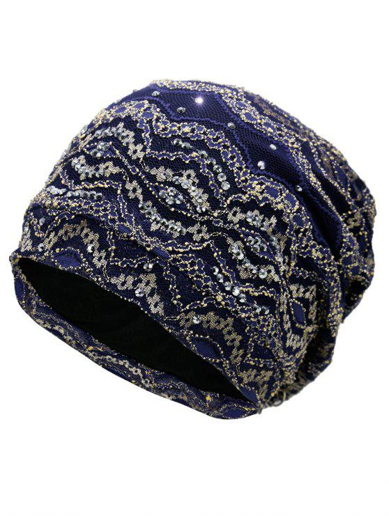 shop Striped Sequin Embellished Beanie Hat - DEEP BLUE