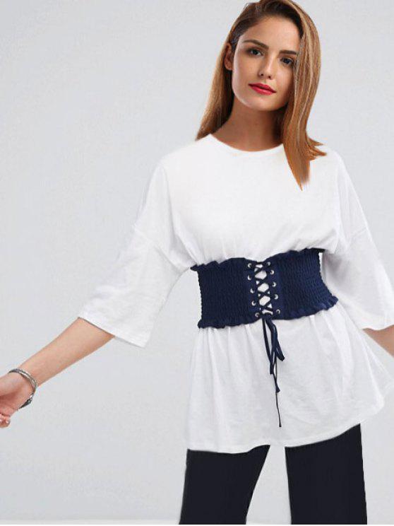 Korsett-Gürtel-Tropfen-Schulter-Tunika-T-Shirt - Weiß 2XL