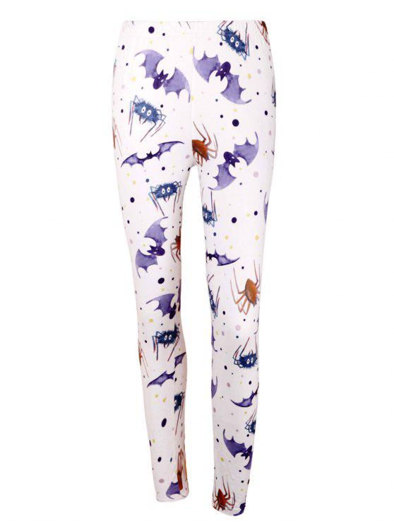 affordable High Waist Bat Spider Print Halloween Leggings - LIGHT PURPLE L