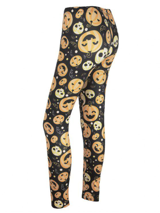 women's High Waisted Pumpkin Face Print Halloween Leggings - BLACK AND ORANGE M