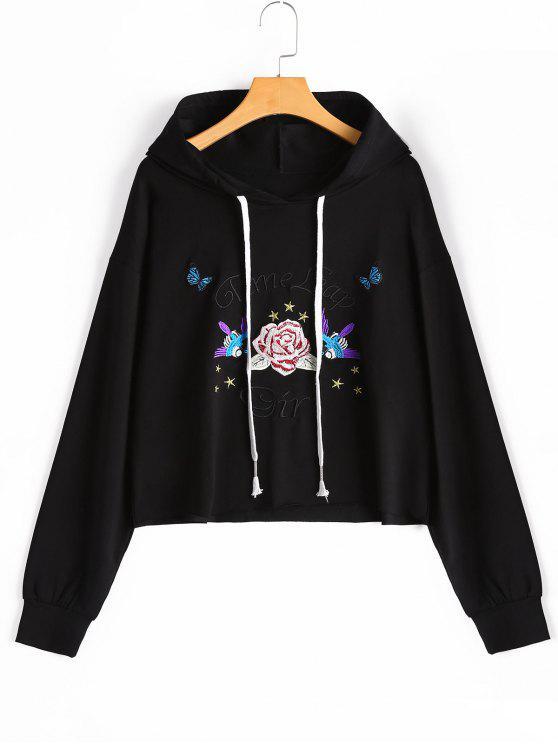 هوديي مشد طباعة الأزهار - أسود M