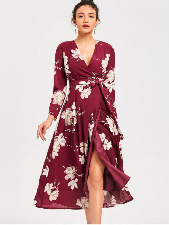 outfits Long Sleeve High Split Floral Surplice Dress - WINE RED M
