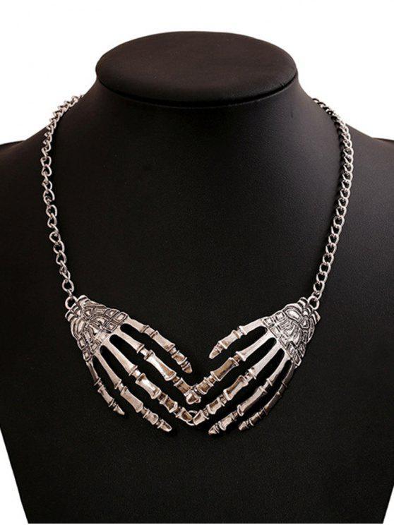 Collana della mano di scheletro punk di Halloween - Argento
