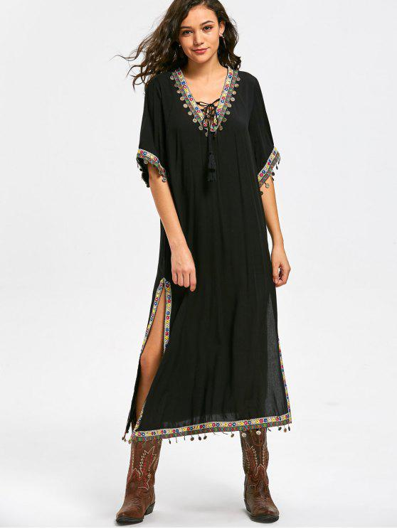 Lace Up Side Slit Tribal Pattern Bohemian Dress - Noir XL