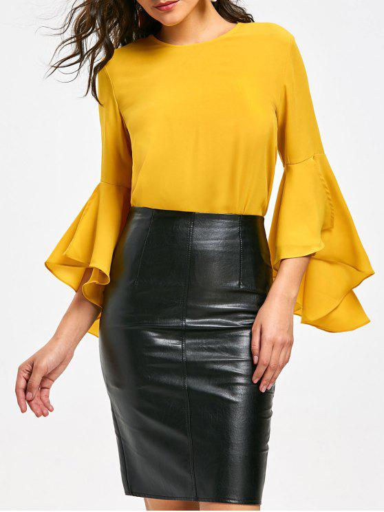 unique Flare Sleeve Blouse with Flounce - YELLOW XL