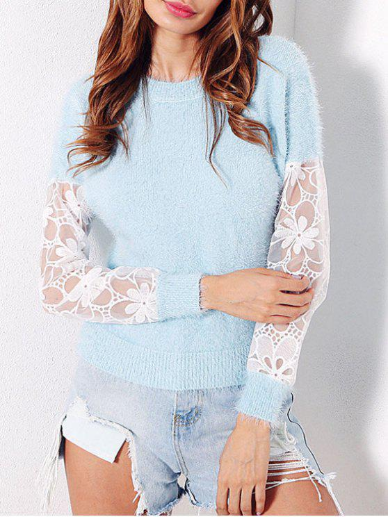 affordable Mesh Insert Fuzzy Sweater - LIGHT BLUE ONE SIZE