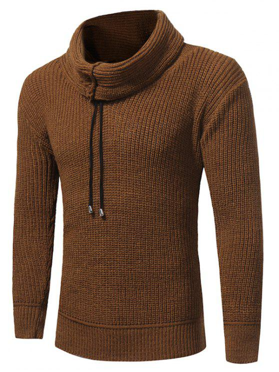 trendy Cowl Neck Drawstring Woolen Yarn Sweater - CAMEL L