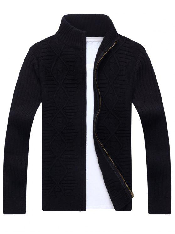 women Stand Collar Cable Knit Cardigan - BLACK 3XL