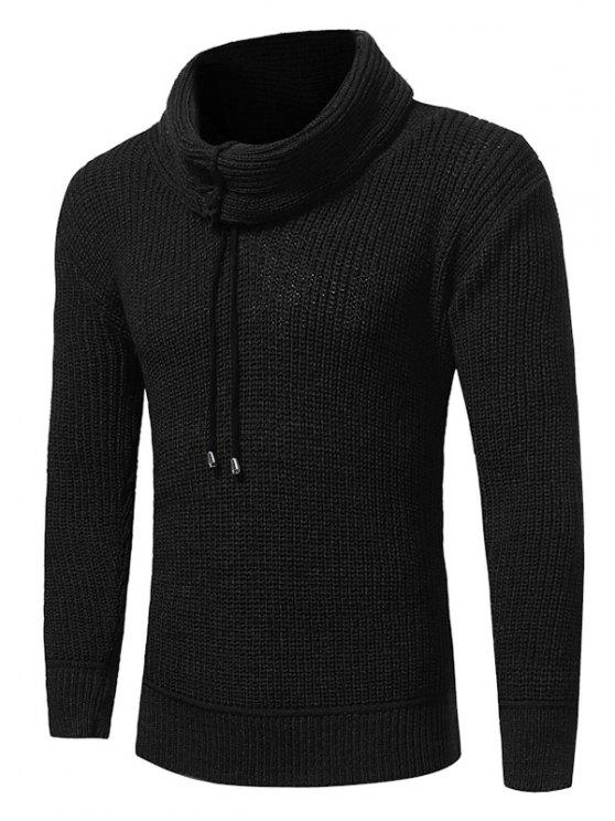 women's Cowl Neck Drawstring Woolen Yarn Sweater - BLACK L