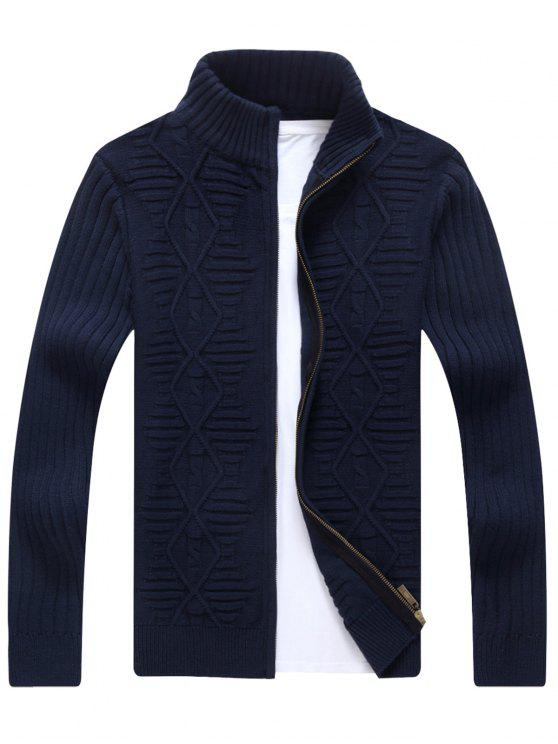 new Stand Collar Cable Knit Cardigan - CADETBLUE XL