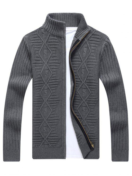 fashion Stand Collar Cable Knit Cardigan - GRAY 2XL