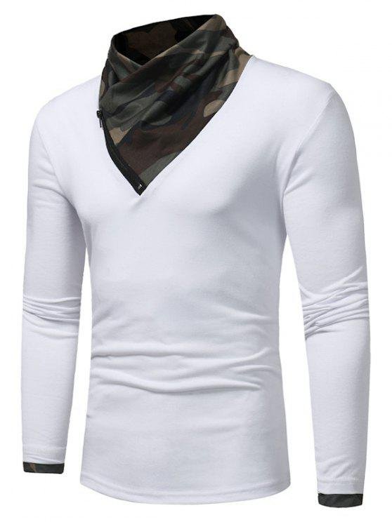 ladies Cowl Neck Camouflage Panel Zipper T-shirt - WHITE L