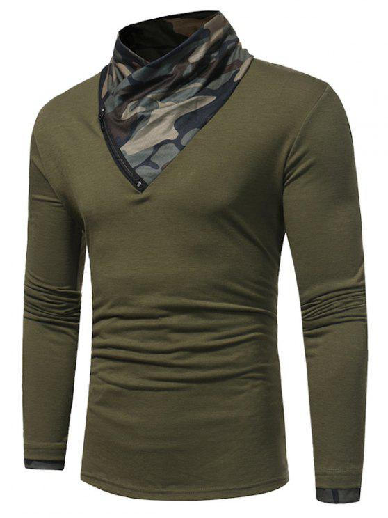 Cowl Neck Camouflage Panel Zipper T-shirt - Verde L