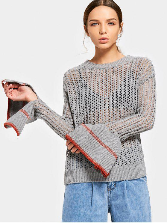 buy Contrasting Sheer Flare Sleeve Sweater - GRAY ONE SIZE